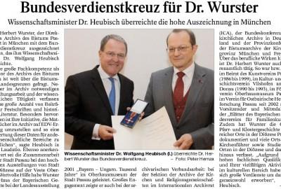 Bundesverdienstkreuz für Dr. Wurster